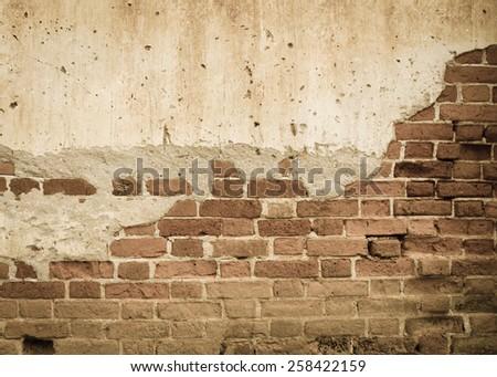 Old brick grunge wall background - stock photo