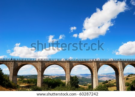 Old brick railway bridge in Molise, center Italy - stock photo