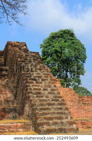Old brick stair,and blue sky,Thailand - stock photo