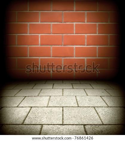Old brick texture orange background for design - stock photo