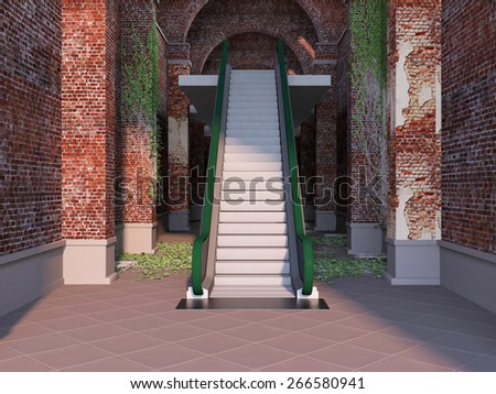 old brick tunnel with ivy leaves and escalator - stock photo