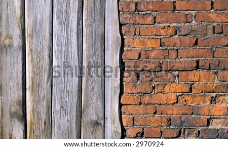 Old brick wall and Boards - stock photo