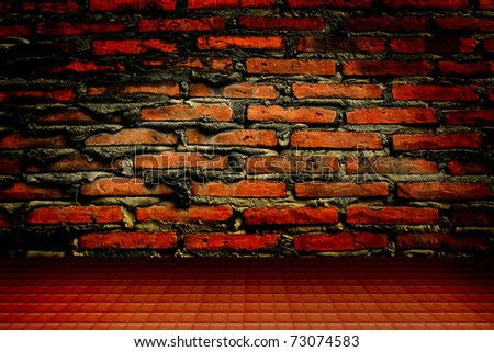 old brick wall and floor - stock photo