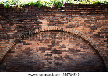 Old brick wall and tree in a background