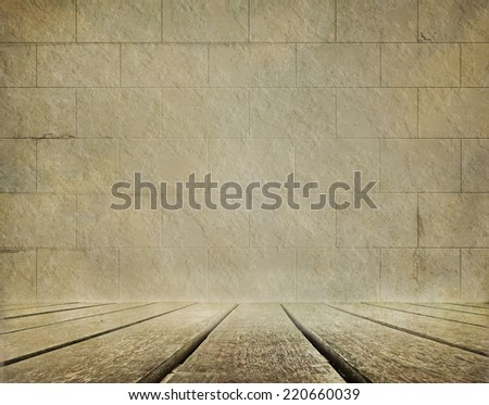 Old brick wall and wooden floor background  - stock photo