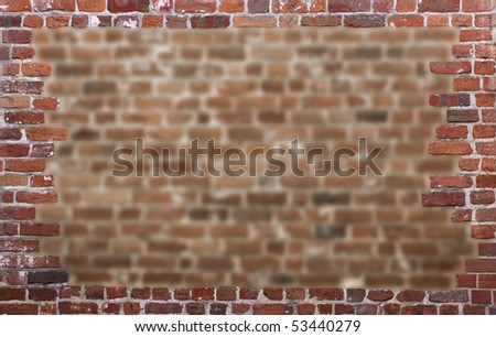Old brick wall as a grungy frame 02 - stock photo