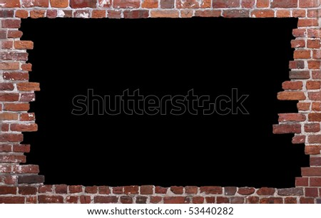 Old brick wall as a grungy frame, isolated on black background in the centre 01 - stock photo