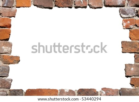 Old brick wall as a grungy frame, isolated on white background in the centre 01 - stock photo