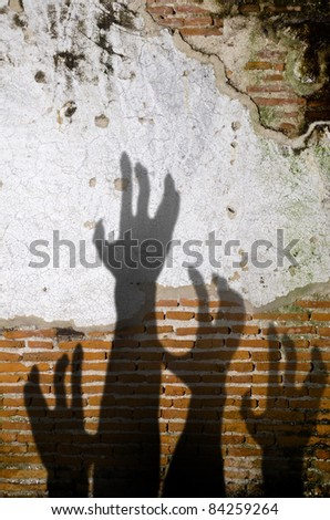 Old brick wall as texture background in Halloween  Theme , Shadow  scary - stock photo