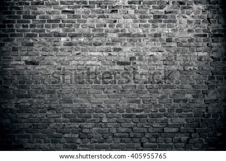 Old brick wall background. Grunge texture. Black background - stock photo