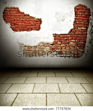 Old brick wall backgrounds texture grunge in old city Thailand - stock photo