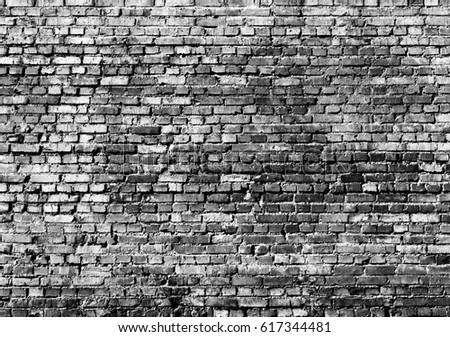 old brick wall for background, monochrome