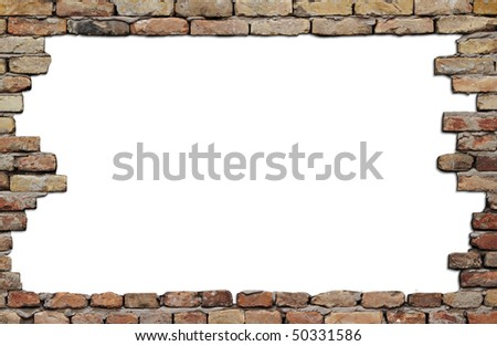 old brick wall frame isolated on white background - stock photo