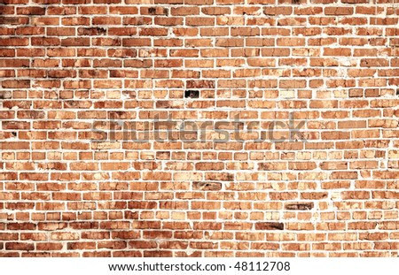 Old brick wall. Monochrome image - stock photo