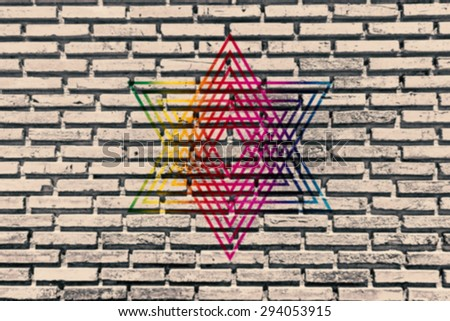Old brick wall paint color copy rising sun for texture background and backdrop. - stock photo
