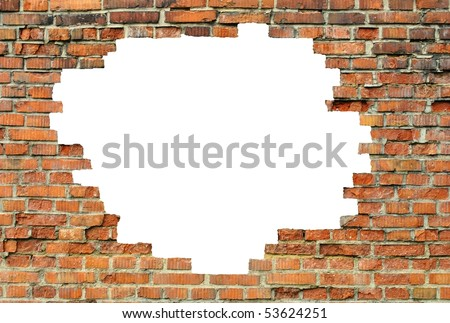 old brick wall with a white hole - stock photo
