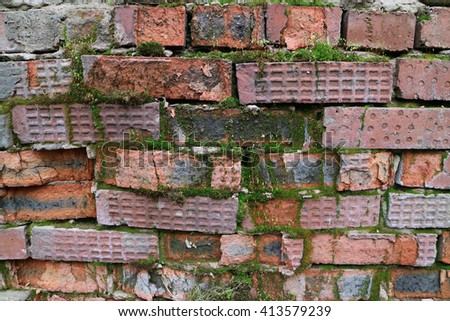 Old brick wall with flowering moss - stock photo