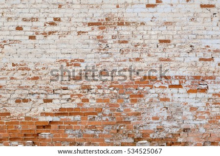 Old Brick Wall White Red Bricks Stock Photo 534525067