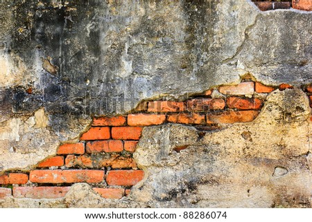 Old brick walls and ruined - stock photo
