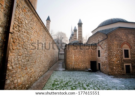 Old brick walls of the mosque in ancient district of Sarajevo city, Bosnia and Herzegovina - stock photo