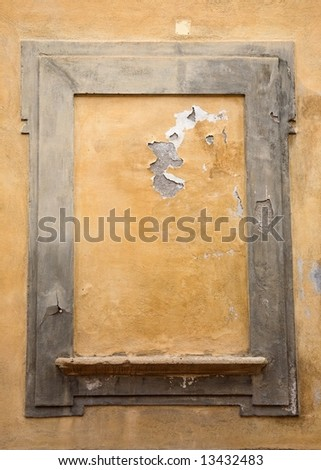 Old Bricked-up Window in Tuscany - stock photo
