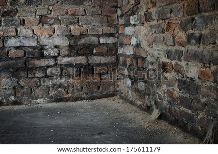 old bricks wall in cellar - stock photo