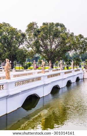 Old bridge at Bang Pa-In Palace, Thailand. - stock photo