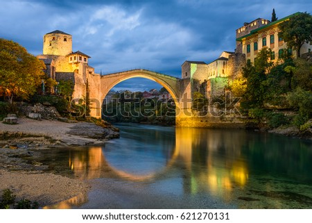 Old Bridge at night in Mostar, Bosnia and Herzegovina