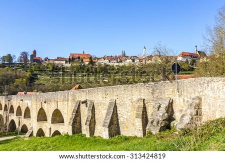 old bridge at Rothenburg ob der Tauber, Bavaria, Germany - stock photo