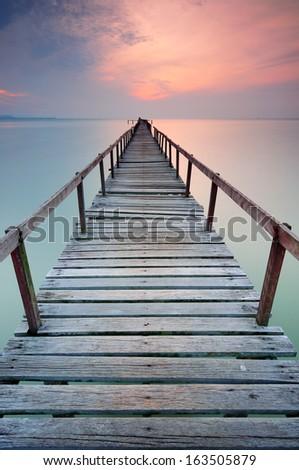 Old Bridge During Sunrise at Penang - stock photo
