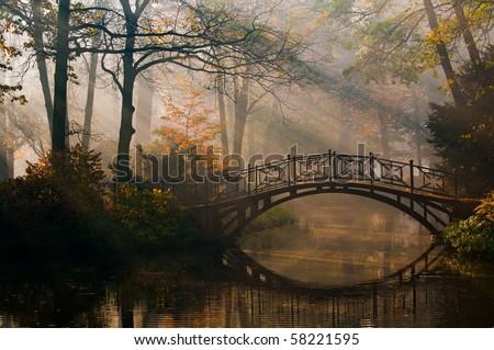 Old bridge in misty autumn park - stock photo
