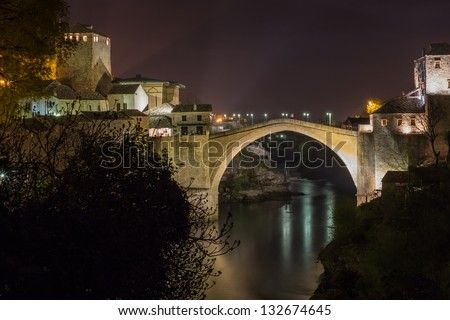 Old bridge in Mostar by >night, Bosnia and Herzegovina - stock photo