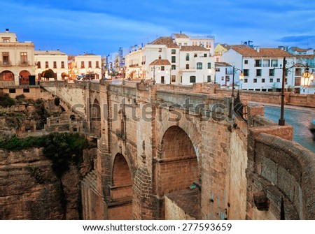 old bridge in town of Ronda in Andalusia, Spain - stock photo