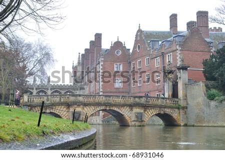 Old bridge in Wonderful Cambridge - stock photo