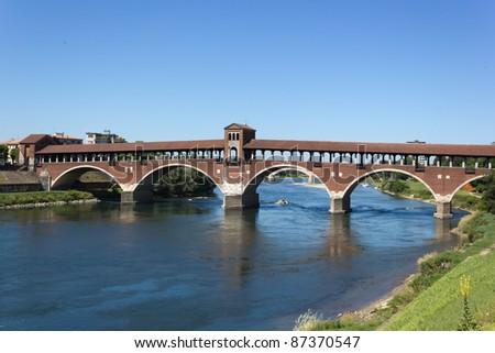 Old bridge of Pavia - stock photo