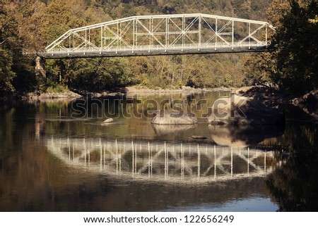 Old Bridge on New River in West Virginia - stock photo