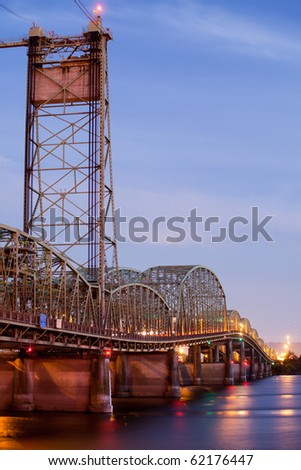 old bridge over Columbia River in Oregon - interstate bridge scheduled for likely demolition to enable more modern and higher capacity design - stock photo