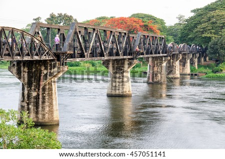 Old bridge over the River Kwai Yai is a historical attractions during World War 2 the famous of Kanchanaburi Province in Thailand - stock photo