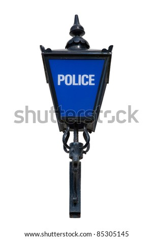 Old British Blue Police Lamp Isolated - stock photo