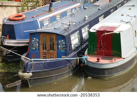 Old British canal or river boats