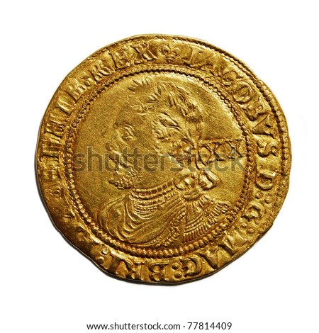 Old British hammered gold coin isolated, Laurel of James I - stock photo