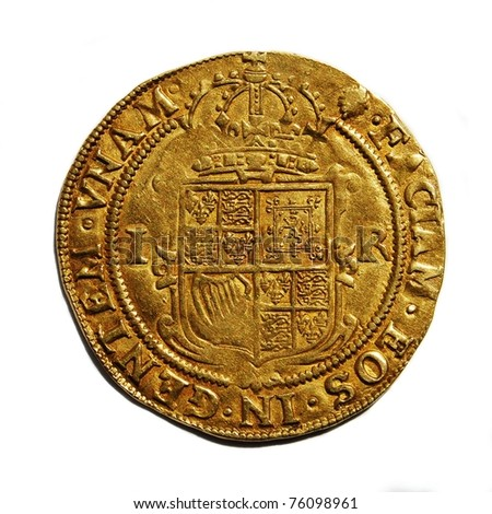 Old British hammered gold coin (Unite) isolated, from 17th century reign of King James I, reverse side - stock photo