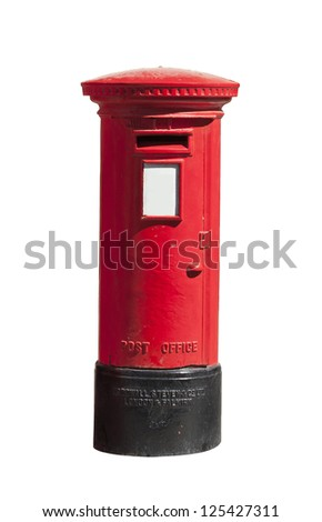 Old British post letter pillar isolated on white backdrop