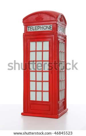 Old British red phone booth isolated on white - stock photo