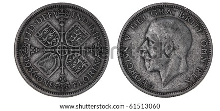 Old British silver coin - stock photo
