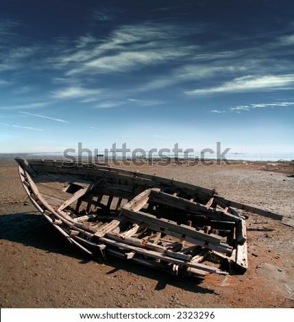 Old broken boat - stock photo