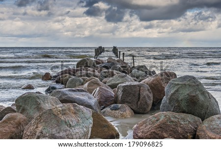 Old broken pier, Baltic Sea, Latvia - stock photo