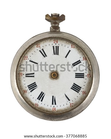 Old broken pocket watch isolated on white background - stock photo