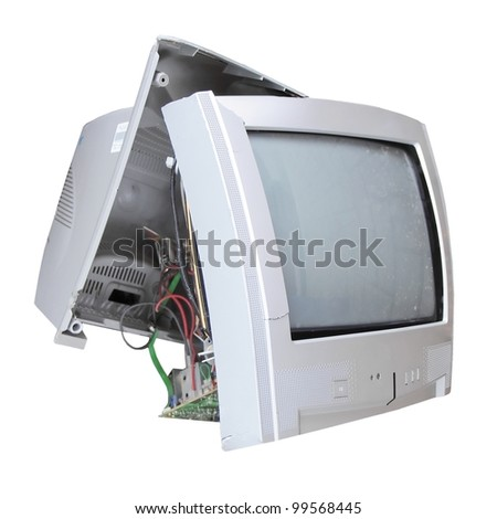 Old broken TV set isolated over white background - stock photo