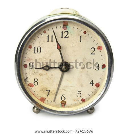 Old broken vintage alarm clock, isolated on white - stock photo